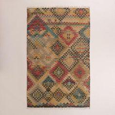 One of my favorite discoveries at WorldMarket.com: 5'x8' Boho Print Jute Kilim Area Rug