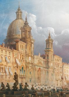wycherley: Carlo Bossoli (1815-1884), A Bustling Market on the Piazza Navona (detail), 1848