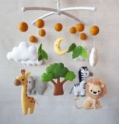baby mobiles, safari baby mobiles, baby animals mobiles, Jungle mobile, safari nursery decor gift for baby hanging mobile crib mobile Baby Crib Mobile, Baby Cribs, Baby Mobiles, Baby Room Design, Baby Room Decor, Nursery Decor, Mobile Safari, Diy Crib, Diy Bebe