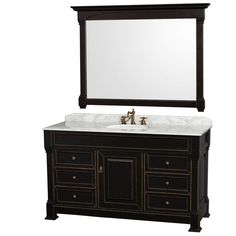 """View the Wyndham Collection WCVTRAS60SUNDM56 60"""" Free Standing Vanity Set with Hardwood Cabinet, Marble Top, Undermount Sink, and 56"""" Mirrors from the Andover Collection at Build.com."""