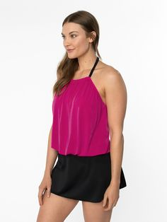 Cabo Tankini Top with adjustable hatler neckline, sewn in petals and shelf bra Hot Pink Tops, Us Swimming, Swim Skirt, Plus Size Swimsuits, Tankini Top, Cabo, Cover Up, Ribbon, Skirts