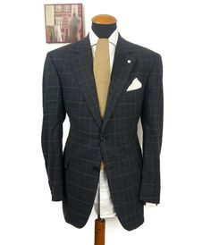 Men s Lanificio Galtes size 42R Blazer Wool Linen Plaid Checks Black gr. 52