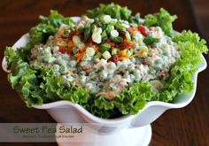 Sweet Pea Salad - This classic side dish is simply delicious. The easy to find ingredients along with the incredible flavor combination keeps it on the regular side dish rotation in my kitchen. Minus the bacon for me Melissas Southern Style Kitchen, Cooking Recipes, Healthy Recipes, Healthy Salads, Vegetable Recipes, Potluck Recipes, Easy Cooking, Diabetic Recipes, Fish Recipes