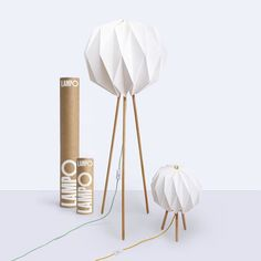 @mylampo is a lamp that comes in a tube! Made from maple wood and Japanese washi paper the threaded wood and origami lampshade combine to create a unique contemporary design. The floor and table models are currently on pre-order at @kickstarter! by designmilkeveryday