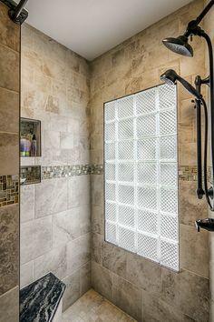 walkin shower with glass block window