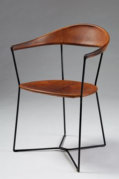 Many repins.  Leather and Enameled Steel Chair, 1930s - Ivar Callmander