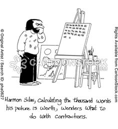 Harmon Silas, calculating the thousand words his picture is worth, wonders what do do with contractions.