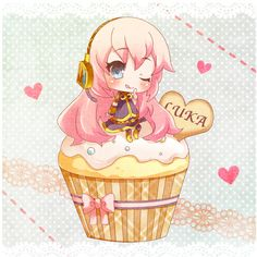 blush bow chibi cupcake headphones megurine luka tottsuan vocaloid... ❤ liked on Polyvore featuring anime, vocaloid, backgrounds, chibi and cupcake
