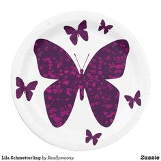 Lila Schmetterling Pappteller Purple Butterfly, Welcome Home, Nice Asses