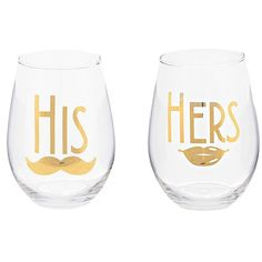 Gold His and Hers Stemless Wine Glasses, Set of 2 (185 MXN) ❤ liked on Polyvore featuring home, kitchen & dining, drinkware, fillers, kitchen, gold wine glasses and gold wine glass