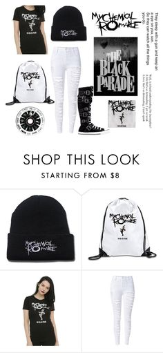 """MCR"" by taco-bell-love ❤ liked on Polyvore featuring WithChic, Converse, bandtshirt and bandtee"