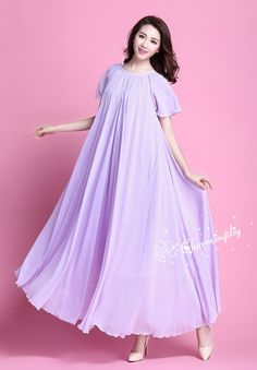 7ec497a77a9 90 Colors Chiffon Light Purple Short Sleeve Long Party Dress Evening  Wedding Sundress Summer Holiday
