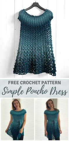 Crochet Poncho Dress - free crochet poncho pattern by Wilmade - - Looking for a simple crochet poncho dress pattern that works up fast? Learn how to make one with my free crochet pattern (sizes and video tutorial! Cardigan Au Crochet, Crochet Cardigan, Crochet Shawl, Knit Crochet, Plaid Crochet, Crochet Tops, Doilies Crochet, Crochet Sweaters, Knitted Shawls