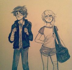 Hiccup and Astrid in modern times by brudge bug
