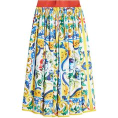 Dolce & Gabbana Printed Cotton Skirt (1.072.460 COP) ❤ liked on Polyvore featuring skirts, multicolored, multi color skirt, summer skirts, cotton knee length skirt, dolce gabbana skirt and print skirt