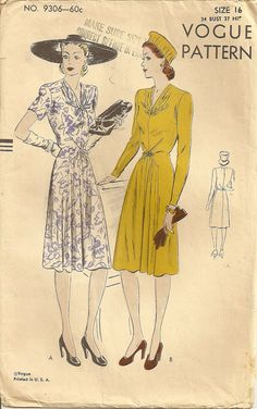 Misses Dress 1940s Vogue Sewing Pattern, Unique Styling, Vogue 9306, bust 34, hip 37 di PatternPriority su Etsy https://www.etsy.com/it/listing/226294633/misses-dress-1940s-vogue-sewing-pattern