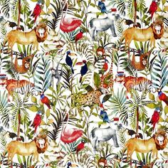 King of the jungle Curtain Fabric in Safari 677 by Prestigious Textiles by the metre. Also available with our exclusive Made to Measure curtain service. Curtain Material, Curtain Fabric, Jungle Safari, Jungle Animals, Safari Theme, Wild Animals, Jungle Scene, Cushions To Make, Prestigious Textiles