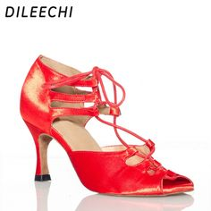 c36b54f5e (Promotion price $24.73) DILEECHI Red Black Zebra satin Latin dance shoes  women ballroom dancing