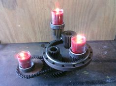 metal gear sprocket industrial candle holder centerpiece art. $50.00, via Etsy.