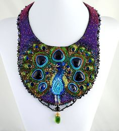 Dreaming of a Peacock - Bead Embroidered Statement Necklace, Beaded Bib Necklace, Purple Collar Beaded Necklace