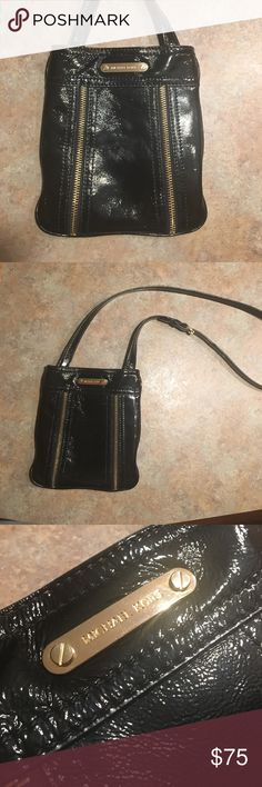 Michael Kors Crossbody Leather with Zipper Detail Measures 7.5 along the bottom, 8.5 from top to bottom, strap is adjustable. Perfect condition. Michael Kors Bags Crossbody Bags