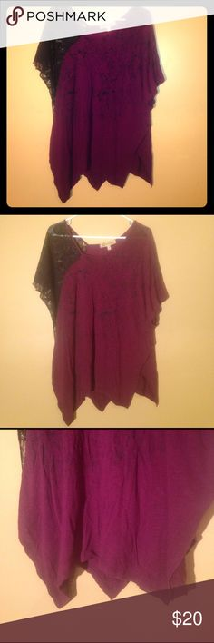 """Democracy medium blouse Democracy the freedom jeaneration size medium blouse. Dark purple color with one lace arm and black paint splatter design. Nice flowy style with slight off the shoulder style. Bottom has a sort of zig zag type cut to it. 11"""" from right armpit to bottom hem and 17"""" from left armpit to bottom hem. 24"""" from armpit to armpit. Democracy Tops Blouses"""