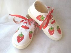 Shoes Red Strawberry Hand Painted Girl's by boygirlboygirldesign, $30.00
