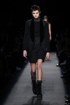 Alexander Wang RTW Fall 2015 - Slideshow  Like collar/neckline design and model hair style.