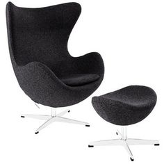 Modway Furniture Glove Lounge Chair and Ottoman Set in Dark Gray - Zulob.com