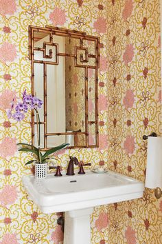 Wallpaper - 10 Ways To Decorate with Red - Southernliving. In small powder rooms, pulling off large-scale, patterned wallpaper is not only doable, but lovely. Try a print that incorporates red throughout its design to create a chic space to freshen up in.