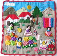 Rayela's Fiber Focus: Arpilleras: Market Scenes and Political Protest Small Sewing Projects, Sewing Crafts, Peruvian Art, History Of Quilting, Protest Art, Arts And Crafts, Diy And Crafts, House Quilts, Felt Ornaments