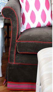 Velvet + contrasting trim + cheery stripe = :)