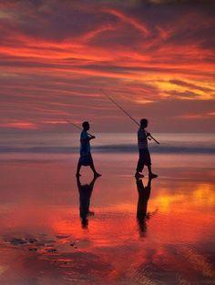 the best sunset at Seminyak beach