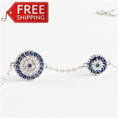 Evil Eye Gems Double Protection Bracelet 925 Sterling Silver Filled , REAL SAPPHIRE and CZ stones(Evil Eye Jewelry), Fine Evil Eye Jewelry f...