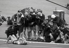 Jessica Ennis collapses at Finish Line after winning Heptathalon. London 2012 / Olympics: David Burnett | Photographer