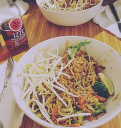 Vegans can have fast food too! Thank you Noodles & Company for offering vegan options! This is an Indonesian Peanut Sautee... It's basically made of rice noodles veggies sprouts & peanut sauce! Delicious  Other vegan options there include: Japanese Pan Noodles Pasta Fresca with no cheese Penne Rosa with no cream and no cheese Cucumber Tomato Salad (I don't know if different locations offer slightly different menus but you can always ask your cashier for a list of their vegan options) Enjoy…