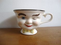 Winking Baileys Irish Cream Coffee Cup  Yellow Bow by APeachyLife, $9.00