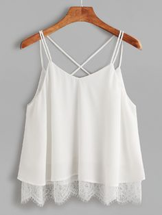 White Lace Trim Crisscross Notch V Back Cami Top