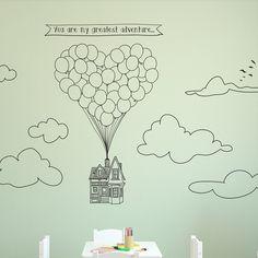 Doodled Flying Heart-Shape Balloon House