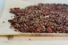Starting the new year healthy with this breakfast treat: Chocolate Coconut Buckwheat Granola packed with lots of cinnamon, orange zest, and ginger.