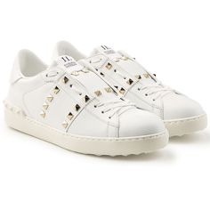 Valentino Untitled Rockstud Leather Sneakers ($869) ❤ liked on Polyvore featuring shoes, sneakers, white, white leather trainers, stitch shoes, leather sneakers, valentino trainers and valentino shoes
