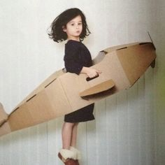 Milk magazine cardboard airplane  For halloween!  (Use goggles and scarf)