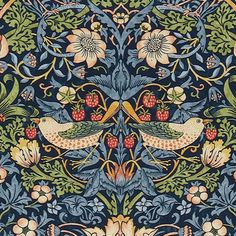 """The """"Strawberry Thief"""" (detail) a popular fabric & wallpaper pattern, designed by William Morris for Morris & Co."""