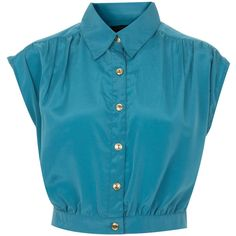 Blue Crop Shirt (50 BRL) ❤ liked on Polyvore featuring tops, shirts, crop tops, blouses, women, polyester shirt, miss selfridge, blue shirt, blue top and polyester crop tops