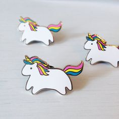 Baby Unicorn Hard Enamel Pin Silver Metal by thesparklecollective