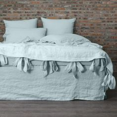Bow Ties Washed Linen Duvet Cover Icy Blue