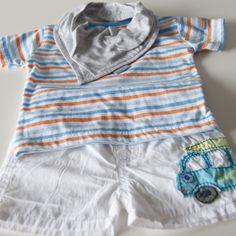 Mama Challenge – Budget baby outfit: het shoppen van een baby outfit onder de € 10. Shirt € 2,49( Zeeman), broek € 2,99 (Zeeman), sjaal € 2,33 (H&M) en romper € 0,99 (Zeeman). Door: Mama kletst.