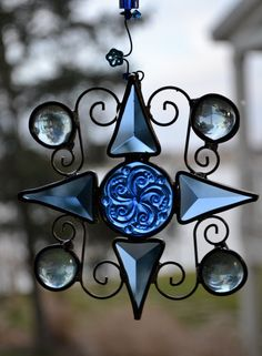 Blue Star Stained Glass Suncatcher by dortdesigns on Etsy, $14.00