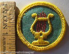 Vintage Girl Scout Cadette 1963-1970 MUSIC MAKER BADGE Musician Harp Lyre Patch Alpha Chi Omega AXO Lyre Red carnation Denton County Chapter Alumnae