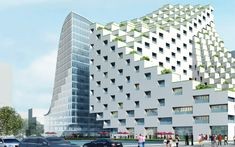 'Hangzhou waves' by JDS architects, Hangzhou, China Winning competition proposal. Luxury hotel and office complex. Placed back-to-back, the pair of structures mirror each other in form, opening a central void into each of the volumes which introduces natural daylight. Comprised of small cubes, the exterior appearance of the hotel is a result of a series of stepped terraces  which extend from each room providing surfaces for vegetation.